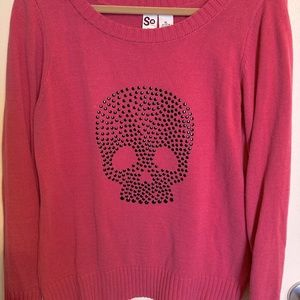 SO by Kohl's Pink Studded Skull Sweater-size XL